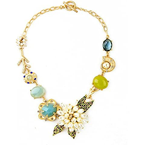 Verde y Azul Crystal Pearl–Flores y playa colgante Declaración de moda collar de 18