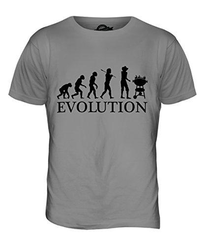 CandyMix Bbq Grigliata Barbecue Evoluzione Umana T-Shirt da Uomo Maglietta Grigio chiaro