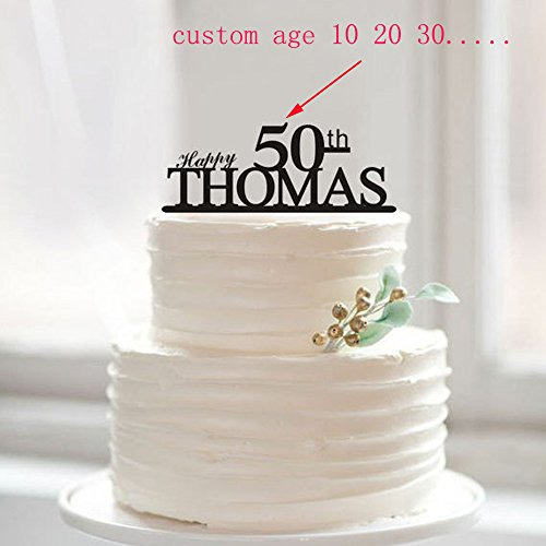 (Happy 50th Birthday Cake Topper, 50. Jahrestag Kuchen Topper, Custom Namen, Tortendekoration, 50. 1 10 18 20 30 40 80 Einzigartige Cake Topper)