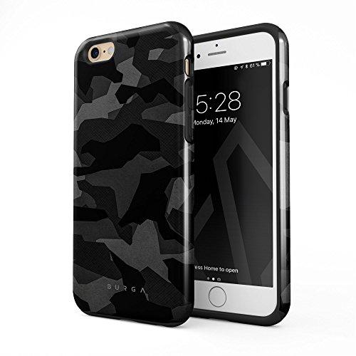 BURGA iPhone 6 iPhone 6s Hülle Nacht Grau Städtisch Schwarz Camo Camouflage Tarnung Muster Robustes Stoßfestes Doppellagiges Hardcase + Silikon Handyhülle Case Cover