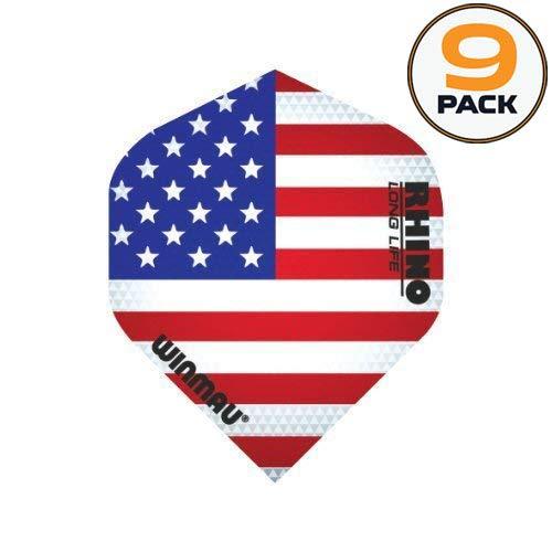 WINMAU 9 Stück Mega American Flag Stars & Stripes America 75 Mikron Strong Standard Dart-Flights -