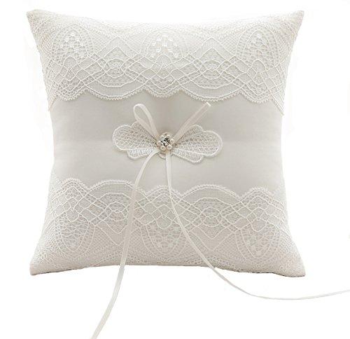 Hochzeit Ringkissen Kissen gestickte Blumen mit Schleife 19cm * 19cm - Ivory