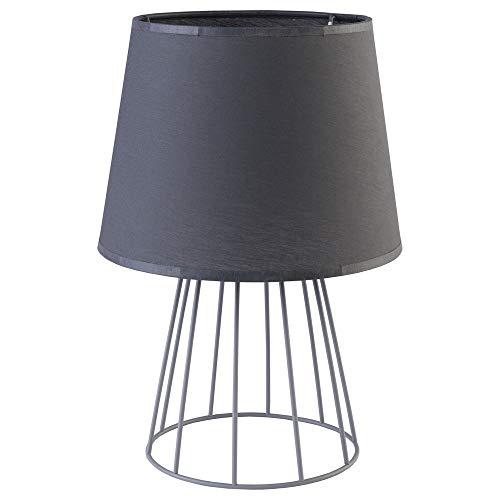 famlights Tischlampe Yasemin aus Metall und Stoff, Grau, 1 x E27-Fassung, mit Kabel & Schalter | Designer Tischlicht für Wohnzimmer, Flur, Nachttisch, Beistelltisch, Schreibtisch, Kommode, Regal -
