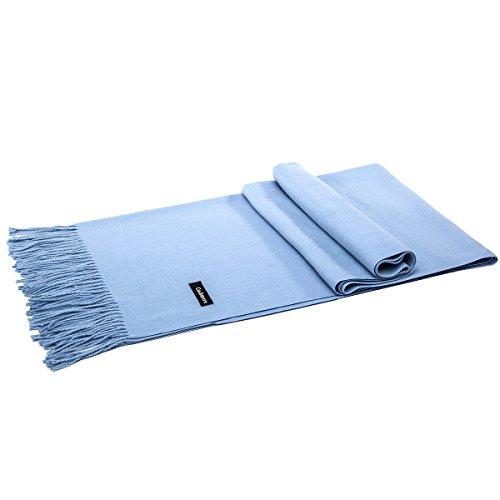 LeKuni Schal Damen Herren Unisex Kaschmir-Mischung Modeschal Pashmina langer Cashmere weicher warmer modischer Cape Umhang Unifarben,Blue_TL