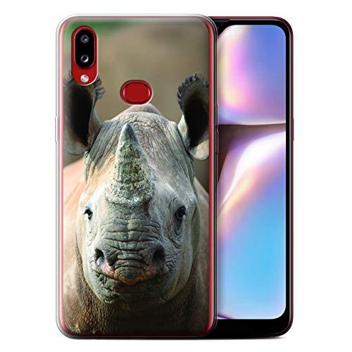 Hülle Für Samsung Galaxy A10s (2019) Wilde Tiere Nashorn Design Transparent Dünn Flexibel Silikon Gel/TPU Schutz Handyhülle Case