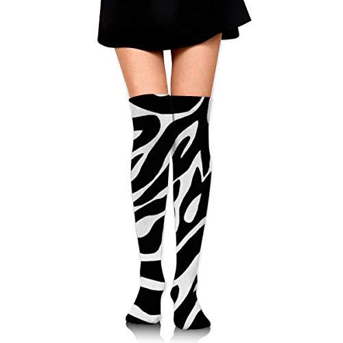 HiExotic Strümpfe Breathable Spring Fall Winter Over Knee Leg Warmer Thigh High Tube Boot Socks Girls Leggings Black White Zebra Stripe Stockings Women Girl
