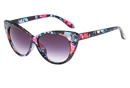 Westeng Damen Sonnenbrille Katzenauge Weinlese Polarisierte Sonnenbrille Fahren Reise Brillen UV-Schutz 400 Brille(Blumen)