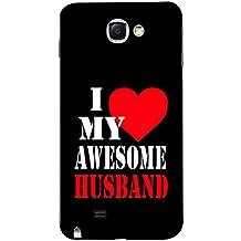 Fuson Designer Back Case Cover for Samsung Galaxy Note 2 :: Samsung Galaxy Note Ii N7100 (I Love my Awesome Husband Heart Romance)