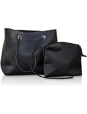 Damen Handtasche im 2er Set | Henkeltasche mit Clutch | kleiner Shopper | Abendtasche mit Magnetverschluss | Joesy