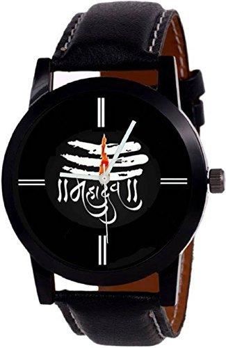 Om Sai Enterprise Analogue Black Mahadev Print Dial Leather Belt Boy Watch