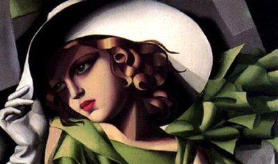 GFM Painting - Riproduzione fatta a mano di Pittura ad Olio. Soggetto:Girl in a Green Dress detail (Modern Art),Pittura ad Olio di Tamara De Lempicka - 72 By 96 pollici