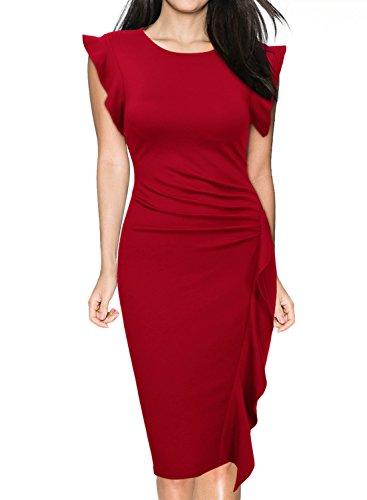 Miusol Damen Rundhals Abendkleid mit Falte Etuikleid Knielanges Kleid Rot Gr.XXL