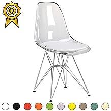 Promo 1 X Chaise Design Inspiration Eiffel Pieds Acier Inox Chrome Assise Transparent MobistylR DSR