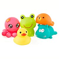 5pcs Baby Bath Toys, Rubber Float Squeeze Sound Wash Bath Swim Dive Play Animals Toy Water Tub Toys, Squirts Bath Toy for Baby
