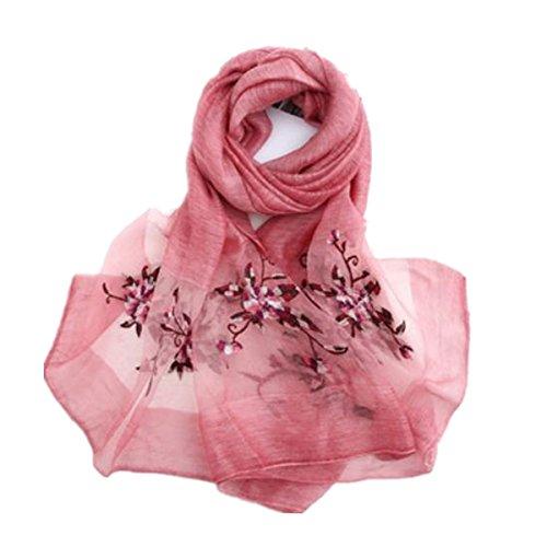 SHUNLIU Femmes Châle Fashion Foulards Rayés Littéraires Coton Pli Protection Solaire Rosa2