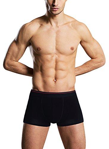 Dolamen Herren Boxershorts Baumwolle, 2 Stück Mens Unterhosen Underwear Schlafanzughose Nachtwäsche Trunk Unterwäsche Boxer Briefs Webboxer Shorts Retroshorts Schwarz