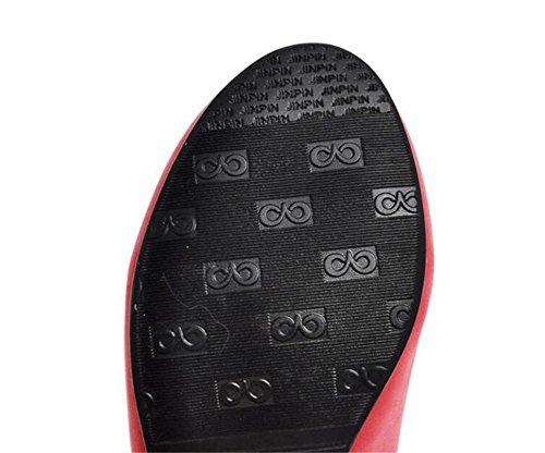 tacchi alti con le scarpe punta rotonda scarpe bocca superficiale della corte semplice lavoro occasionale primavera e l'estate watermelon red