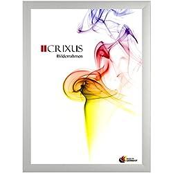 Crixus35 Bilderrahmen für 60 x 137 cm Bilder, Farbe: Silber, Holzrahmen MDF Maßanfertigung mit Acryl Kunstglas und MDF Rückwand innen Weiß lackiert, Rahmen Breite: 35mm, Aussenmaß: 65,6 x 142,6 cm