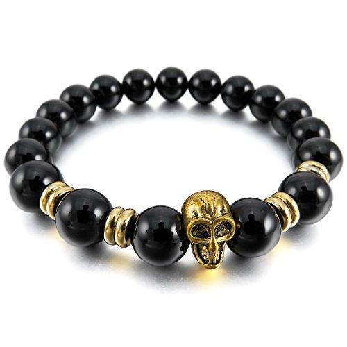 MunkiMix 10mm Alliage Bracelets d'énergie Lien Poignet Pièrre d'Énergie Crâne Boule Perle Élastique Homme,Femme Agate noir