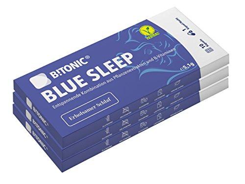 B!TONIC® Blue Sleep - Pflanzliches Schlafmittel für Erwachsene I Natürliche Einschlafhilfe mit Zitronenmelissen- & Hopfen-Extrakt, Vitamin B3 / B7 I Besser Schlafen I 100% Vegan - 30 Kapseln, 3er Pack