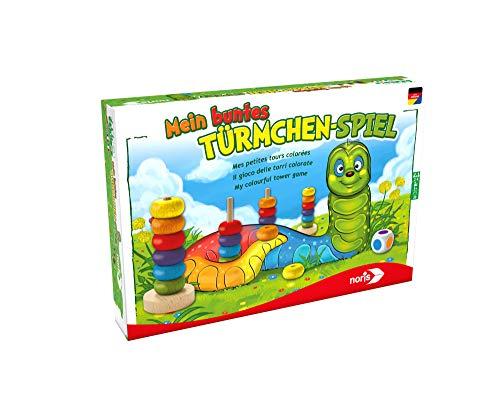 noris 606011235 606011235-Mein buntes Türmchenspiel, Kinderspiel (Einfache Brettspiele)