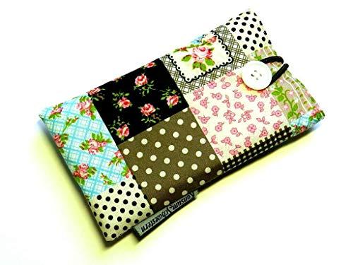 Handytasche aus Stoff - PATCHWORK LOOK ROSEN - mit Knopf passend für SAMSUNG® Galaxy® S10+, S9+, S8+, A50, M20, A6+ und A8+ (Plus) - gepolsterte Hülle für Smartphone - Geschenk Rose Mobile