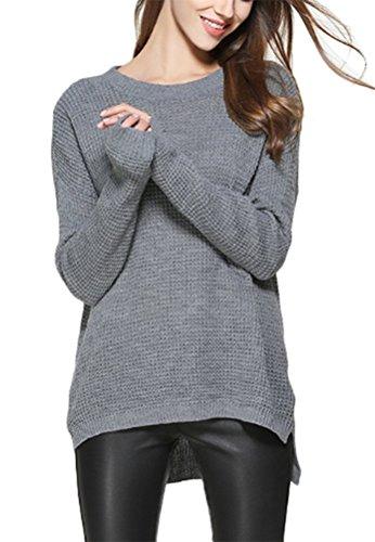 MILEEO Femme Chandail de grande taille femme pull en tricot chemise à manches longues couleur unie veste en automne Gris