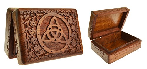 Madera maciza de suave Pentagram Caja de tarot tallada 18x 13cm