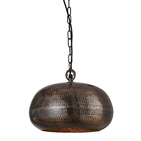 Searchlight HAMMERED PENDANT ANTIQUE BRONZE ELIPSE BEATEN DIA 32CM 2094-32BZ