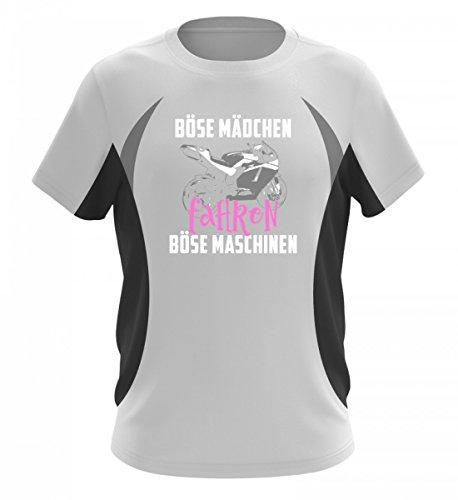 Motorrad Shirt · Biker · Geschenk für Superbike Fahrer · Spruch: Böse Mädchen Maschinen - Herren Laufshirt tailliert geschnitten -L-Schwarz-Weiss