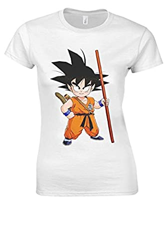 Japanese Anime Manga Dragon Ball Goku White Women T Shirt Top-XL