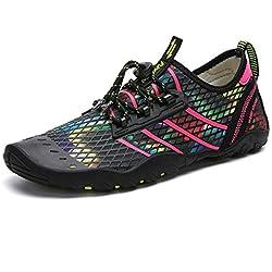 Zapatos de Agua Hombre Mujer Zapatillas para Playa Surf Natación Calzado Piscina Secado Rápido Escarpines Rojo 40