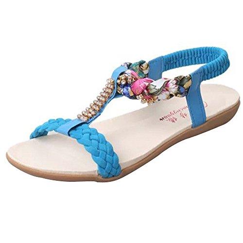 Longra Donne Sandali di stile della Boemia strass Blu