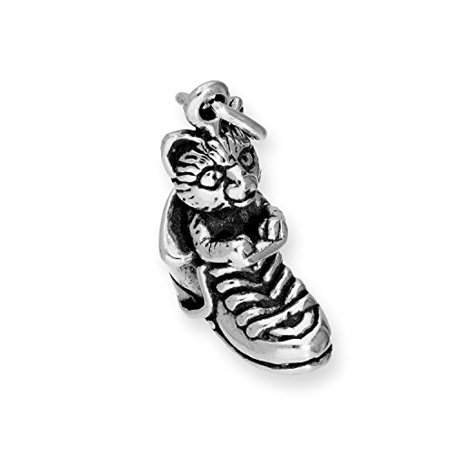 TheCharmWorks Sterling Silber Der Gestiefelte Kater Charmanhänger | Puss in Boots Cat Charm