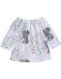 757acb668 Vestido de Manga Corta con Estampado de Elefantes y Dibujos Animados de Manga  Larga para bebés