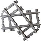 Abgewinkelt Mit Lego City kompatible, maßgearbeitete Kreuzungsschiene, Kreuzung mit geraden Schienen, kompatibel mit Lego-City-Eisenbahnschienen und -Sets, mit Lego City kompatible, gerade Gleise