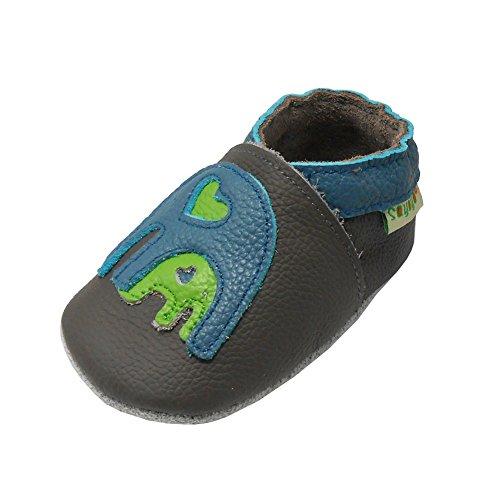 Sayoyo Elefant WeichesLeder Lauflernschuhe Krabbelschuhe Babyschuhe Grau