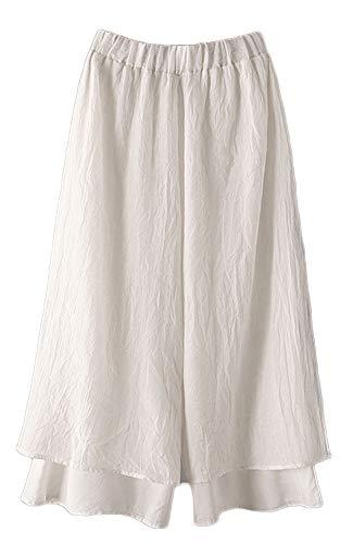 Mallimoda Damen Weite Culottes Hosen Doppelte Schicht Knöchellang Trousers Hoserock Weiß XL (Leinen Wide-leg Hose)