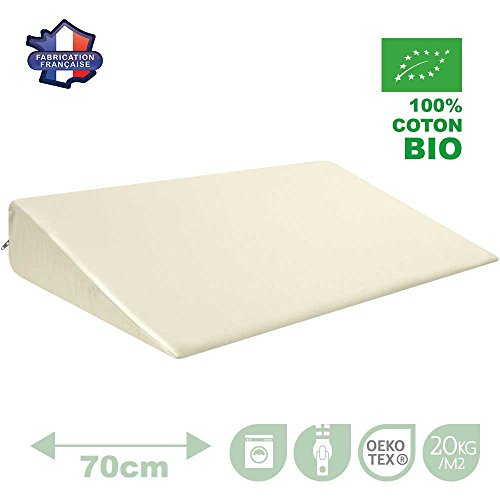Modulit - Plan incliné 100% Coton Bio pour lit Bébé 70x140, Déhoussable, Fabrication Française