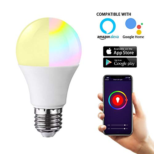 SQUAREDO WiFi Smart LED Glühlampe, 10W (100W Äquivalent) RGB Dimmable mehrfarbige Glühlampe, kompatibel mit Alexa und Google Home Size with E14 to E27 Lamp Adapter