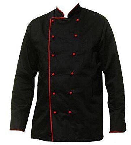 Kochjacke schwarz kurzarm bestickt