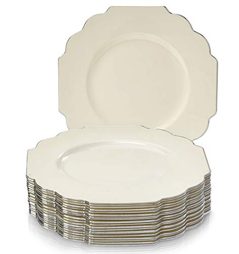 EINWEGGESCHIRR PARTY-SET (20 TEILE) | 20 Dinner-Teller | robustes Kunststoffgeschirr | eleganter China-Look | für gehobene Hochzeiten und Speisen (Baroque Kollektion-Elfenbein/Silber | 19,1 cm) -