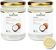 Earth`s Finest Organic Extra Virgin Raw Coconut Oil 500 ml Pack of 2