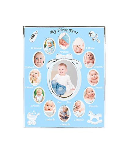 Tiny Ideas Baby's First Year Picture Frame, Silver/Blue