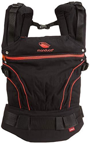 manduca Babytrage BlackLine RadicalRed (Auslaufmodell) Bauchtrage Hüft- und Rückentrage, schwarz / rot - Mülltonne Breite Kurze,