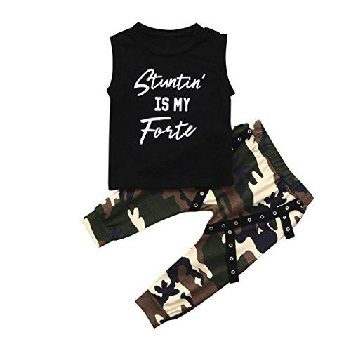 Outfit + Hosen Junge, Sunday Kleinkind Kinder Baby Brief Brief Tops + Camouflage Hosen Outfits Kleidung Set (Schwarz, 12 Monate) (Monate Outfit Neues)