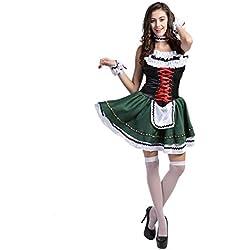 Disfraz de bavara Mujer Vestido de Oktoberfest Disfraz de Criada Cosplay Halooween Carnaval Talla XL