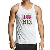 Weste Ich Liebe 80er Konzert t-Shirts Weinlese Kleidungs Musik t-Shirts Geschenke (XX-Large Weiß Mehrfarben)
