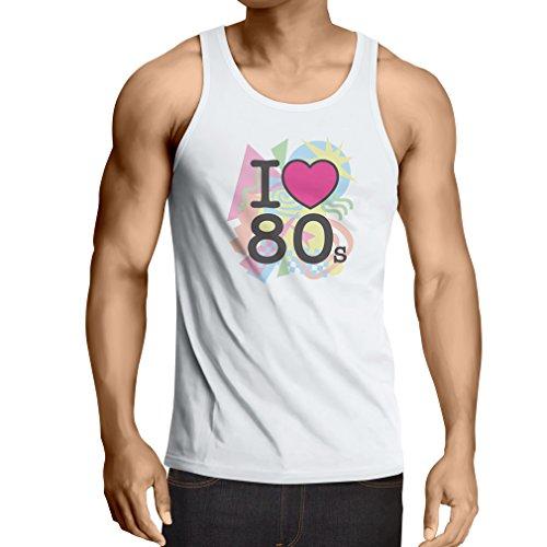 Weste Ich liebe 80er Konzert t-shirts Weinlese Kleidungs Musik t-shirts geschenke (Large Weiß (Ideen Jahre Kostüme 1980er)