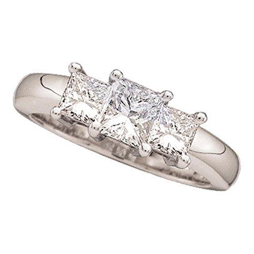 Sonia Jewels - 14 Kt Weißgold Prinzessschliff Getöntes Weiß/Top Cape (K) Weißer Diamant